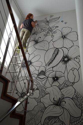 mẫu tranh vẽ tường quán trà sữa