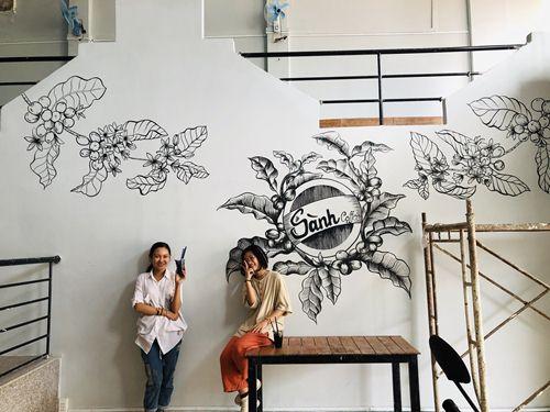 vẽ tranh tường quán cà phê